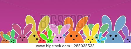 Easter Bunnies As Illustration On Violet Colored Background With Soft Yellow Glow. Playful Easter Bu
