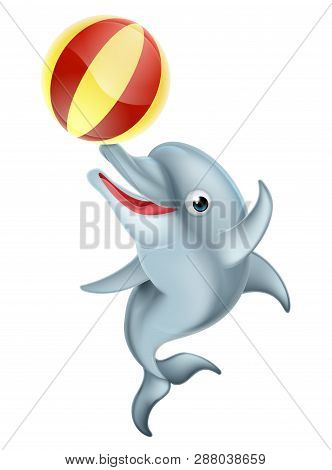 A Happy Cartoon Dolphin Playing With An Inflatable Ball