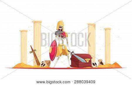 Wicked fierce warrior in helmet bringing destruction death with shield sword among ruins cartoon composition vector illustration poster