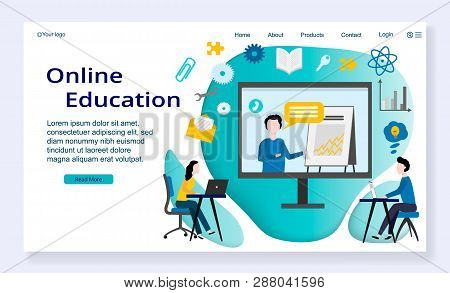 Website Template Of Online Education Concept, Modern Flat Design Vector Illustration, For Graphic An