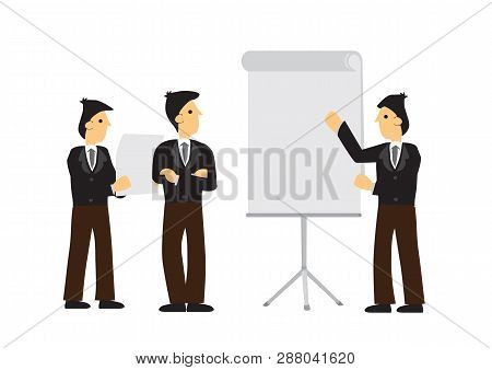 Group Of Businessmen Having A Business Meeting. Concept Of Corporate Presentation, Business Pitch Or