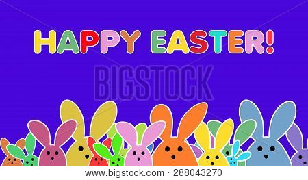 Easter Bunnies As Illustration On Lilac Colored Background. Playful Easter Bunny Background For The