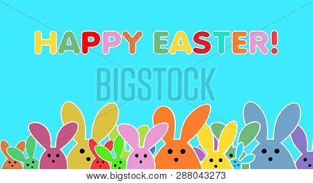 Easter Bunnies As Illustration On Turquoise Colored Background. Playful Easter Bunny Background For