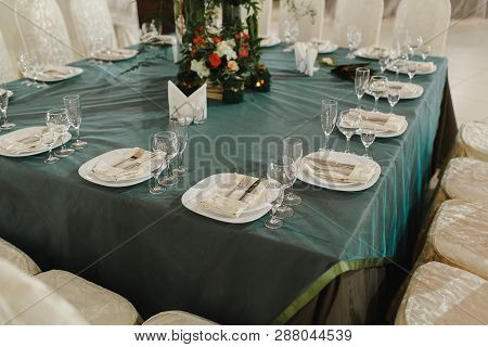 Crystal Dishes On A Restaurant Table, Open Background