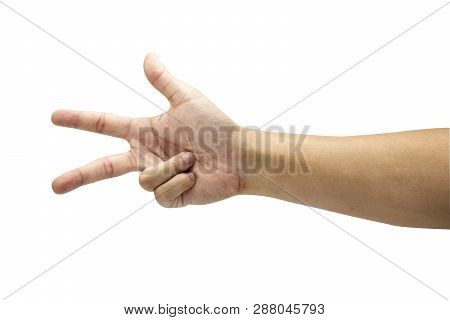 Count Numeric Of Three Symbol From Hand. Isolated On White Background With Clipping Path Concept.ima