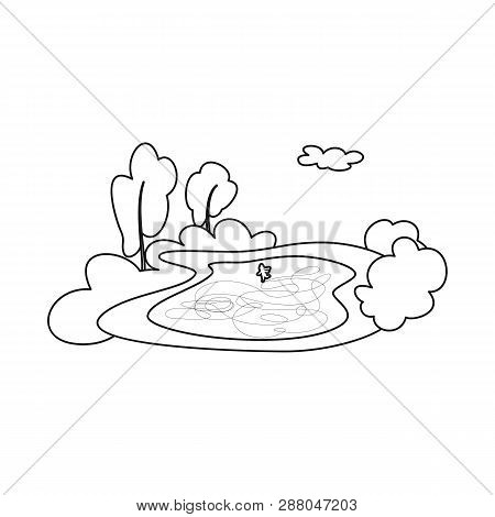 Vector Illustration Of Pond  And Ice Icon. Set Of Pond  And Winter Stock Symbol For Web.