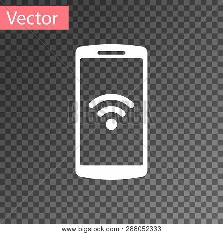 White Smartphone With Free Wi-fi Wireless Connection Icon On Transparent Background. Wireless Techno