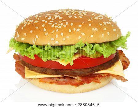 Big Hamburger On A White Background Close-up