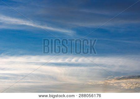 Kelvin, Helmholtz Instability Clouds Wavy On Blue Sky, Feathery Curls