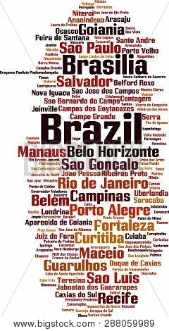 Cities In Brazil Word Cloud Concept. Vector Illustration On White