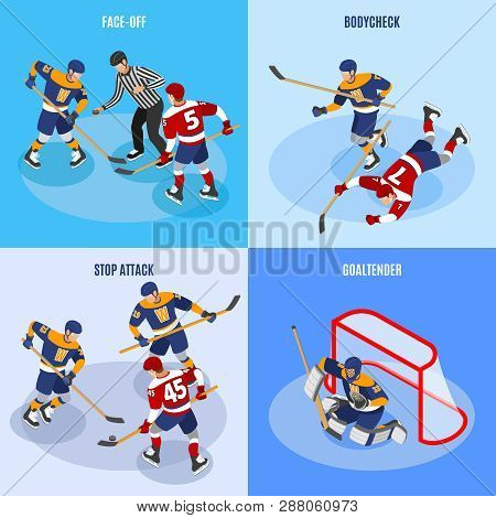 Hockey Concept 4 Isometric Compositions With Defense Players Stopping Forward Attack Face Off And Go