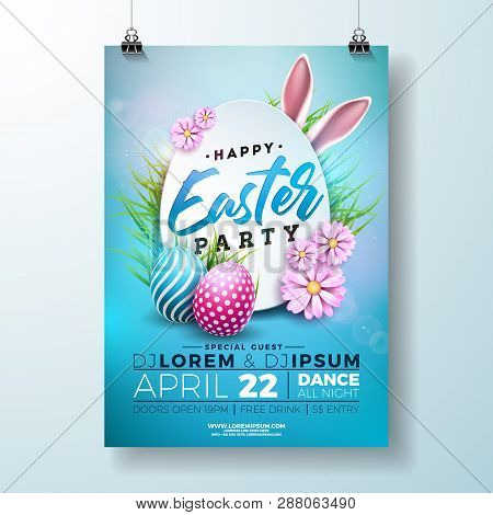 Vector Easter Party Flyer Illustration With Painted Eggs, Rabbit Ears And Flower On Nature Blue Back