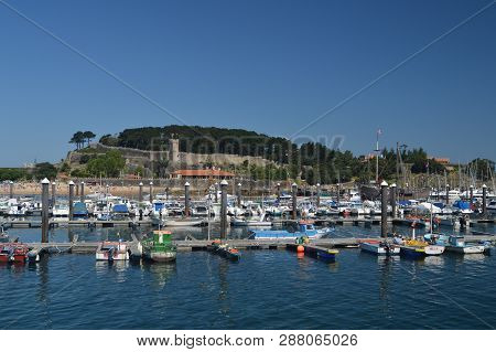 Marina With Monterreal Castle At The Background In Bayonne. Nature, Architecture, History, Travel. A