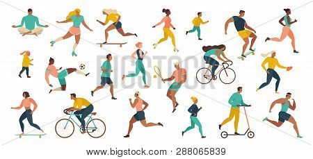 Group Of People Performing Sports Activities At Park Doing Yoga And Gymnastics Exercises, Jogging, R