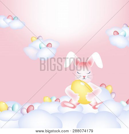 Easter Bunny With Colorful Eggs Napping On The Clouds