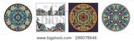 Decorative Design Of Circle Dish Template, Round Geometric Pattern