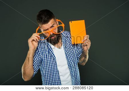 Funny Story. Study Is Fun. Funny Book For Relax. Book Cover Copy Space. Hipster Bearded Man Wear Fun
