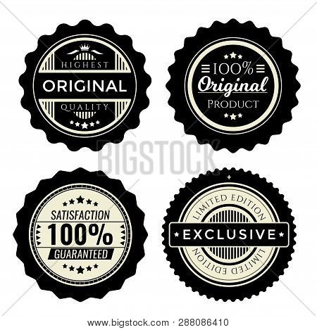 Vintage Badges Set. Collection Of Premium Design Elements For Trade Products. Limited Edition, Speci