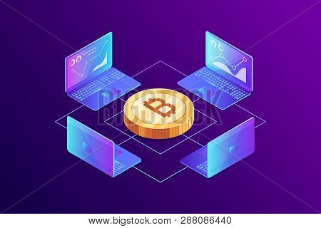 Isometric Concept Of Mining Bitcoin Using Laptop. Earning Cryptocurrency. Laptops, Network, Analysis