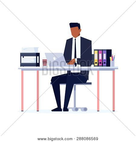 African American Businessman Using Laptop On Workplace, Office Desk With Folders, Busy Man In Office