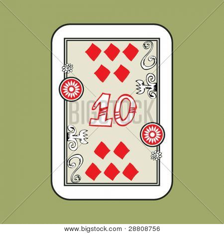 hand drawn deck of cards, doodle 10 of diamonds