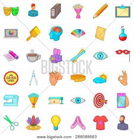 Art Workshop Icons Set. Cartoon Style Of 36 Art Workshop Icons For Web Isolated On White Background