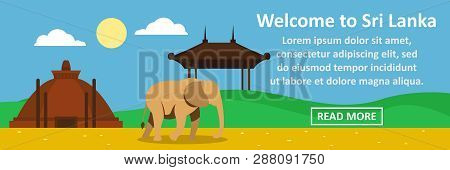 Welcome To Sri Lanka Banner Horizontal Concept. Flat Illustration Of Welcome To Sri Lanka Banner Hor