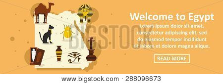 Welcome To Egypt Banner Horizontal Concept. Flat Illustration Of Welcome To Egypt Banner Horizontal