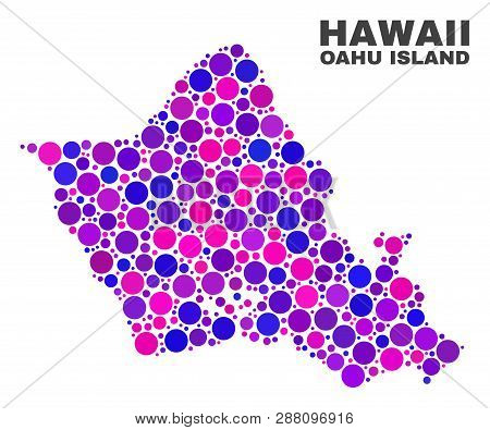 Mosaic Oahu Island Map Isolated On A White Background. Vector Geographic Abstraction In Pink And Vio