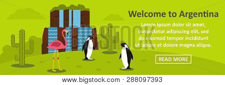 Welcome To Argentina Banner Horizontal Concept. Flat Illustration Of Welcome To Argentina Banner Hor