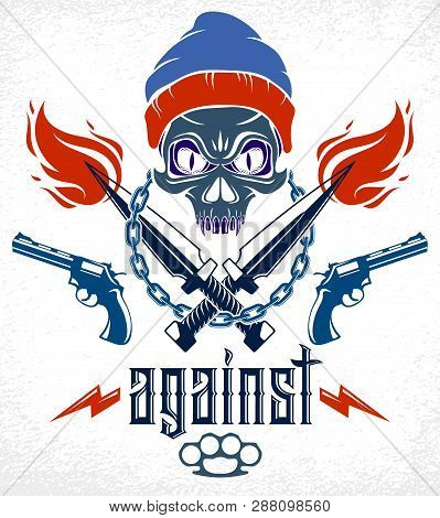 Anarchy And Chaos Aggressive Emblem Or Logo With Aggressive Skull, Weapons And Different Design Elem