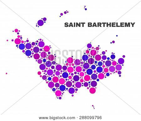 Mosaic Saint Barthelemy Map Isolated On A White Background. Vector Geographic Abstraction In Pink An