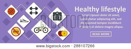 Healthy Lifestyle Banner Horizontal Concept. Flat Illustration Of Healthy Lifestyle Banner Horizonta