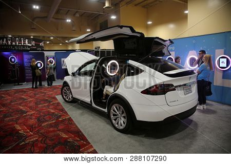 2/25/2019 Las Vegas, Nevada: 5th Annual International Photo Booth Expo. Tesla electric car with a Photo Booth installed in the back seat. Editorial Use only.