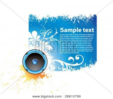 Vector blue musical banner for accommodation of the text