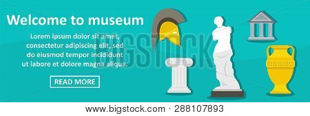Welcome To Museum Banner Horizontal Concept.flat Illustration Of Welcome To Museum Banner Horizontal