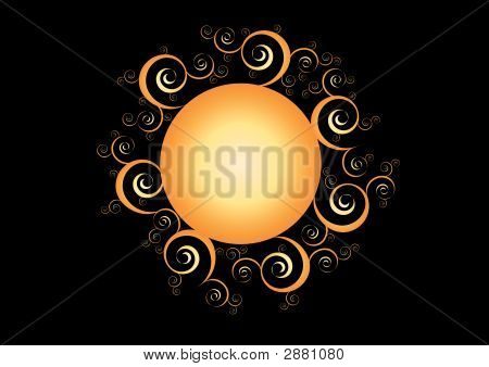 Orange Sun Abstract Background