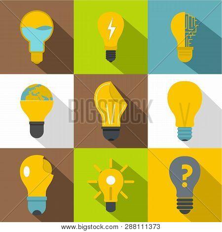 Idea Ligh Bulb Icons Set. Flat Set Of 9 Idea Ligh Bulb Icons For Web With Long Shadow