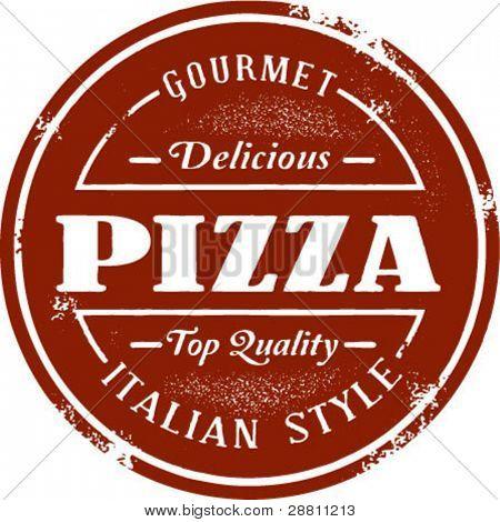 Gourmet Pizza Vintage Stamp