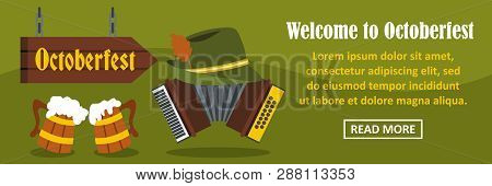 Welcome To Octoberfest Banner Horizontal Concept. Flat Illustration Of Welcome To Octoberfest Banner