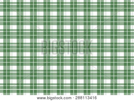 Green Checkered Tablecloth. Green Gingham Seamless Pattern. Texture From Squares For Plaid, Tableclo