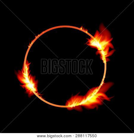 Vector Isolated Illustration Of Banner With Fire Flames. Fire Transparent Frames With Sparkles. Roun