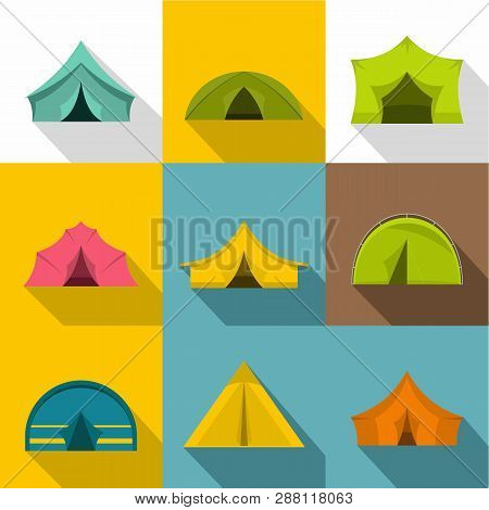 Tourist Tent Icons Set. Flat Set Of 9 Tourist Tent Icons For Web With Long Shadow