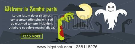 Welcome To Zombie Party Banner Horizontal Concept. Flat Illustration Of Welcome To Zombie Party Bann