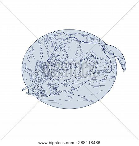 Drawing Sketch Style Illustration Of Norse God, Odin, God Of Wisdom And War, Being Attacked By Fenri