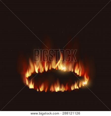 Vector  Realistic Isolated Illustration Of Fire Flames On Transparent Background. Burn Hot, Power He