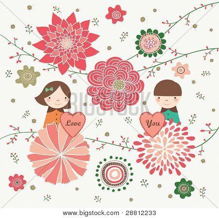Couple is Holding Love Shape in Flower Garden. Valentine's Day Design.