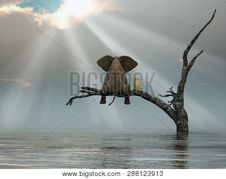 elephant and a dog are sitting on a tree fleeing a flood, 3d illustration