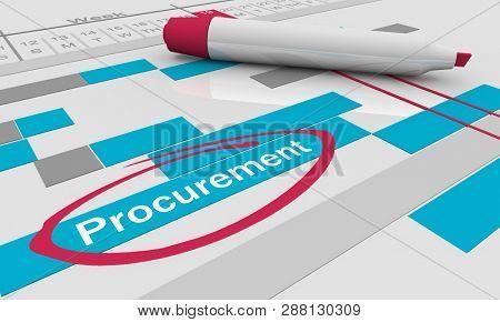 Procurement Purchasing Stage Gantt Chart 3d Illustration