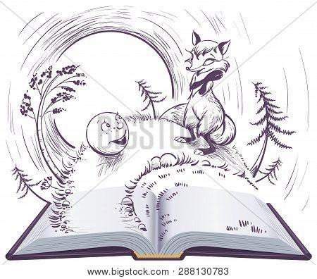 Russian Fairy Tale Bun Open Book Illustration. Sly Fox And Bun On Track